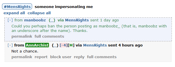 Some douchebag is impersonating me on Reddit; r/mr mods won't ban him