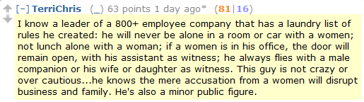 Reddit MRA: My eminent businessman friend who is totally not made-up refuses to be alone in a room with a woman
