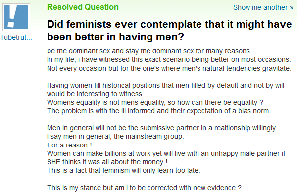 Yahoo! Answers Gender Studies: Zenith of Civilization