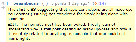 "Things Redditors actually think: ""If you can read this, and we're alone, I can be legally convicted of rape."""