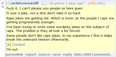 "Reddit Rape Joker: ""Let's all use this as a learning experience."""