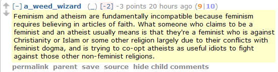 Things I learned from Reddit: Feminists can't be atheists. Also, they shouldn't ever try to translate ancient Greek.