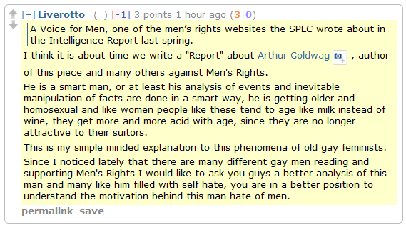 "Men's Rights Redditor on a Men's Rights critic: ""He is getting older and homosexual and … people like these tend to age like milk instead of wine."""