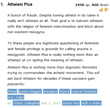 Reddit MRA upvote brigade to the rescue! Or, the Battle of the Urban Dictionary Atheism+ Definition