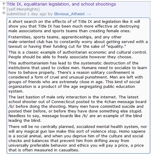 What?! Men's Rights Redditor blames Newtown school shootings on Title IX