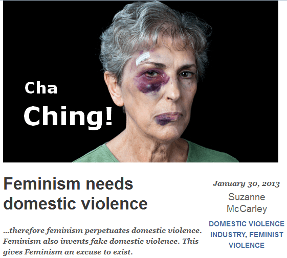 A Voice for Men uses pic of brutalized woman to illustrate post blaming feminists for domestic violence