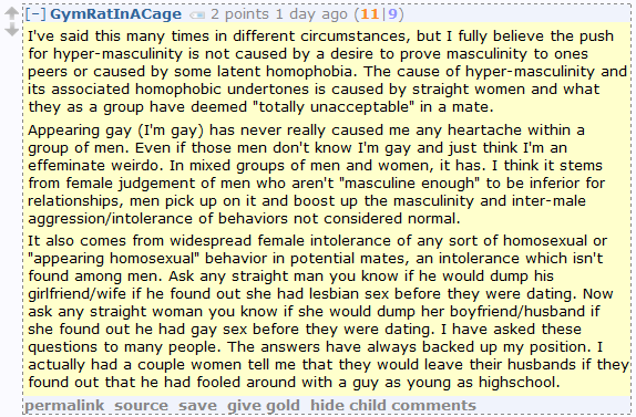 Homophobia totally the fault of straight women, according to Men's Rights Redditors