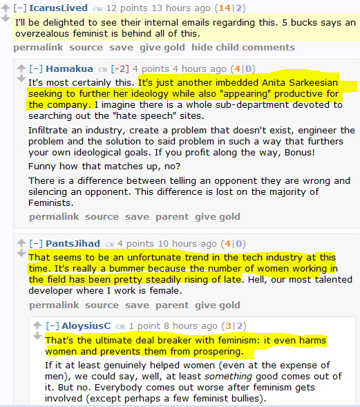 Men's Rights Redditor: Beware the stealth Sarkeesians infiltrating our industries!