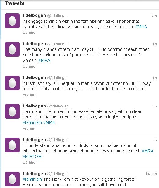 @Fidelbogen is killing it on Twitter with his antifeminist bon mots #NotReally #SeriouslyTheyreAwful
