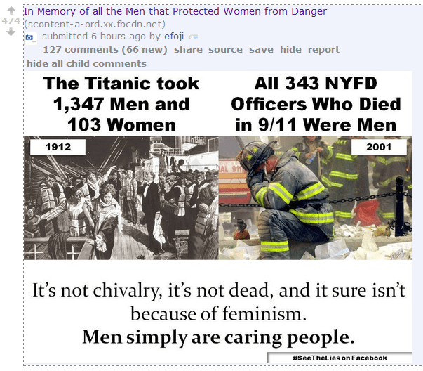 "Men's Rightser: Men win the ""we care a lot"" olympics because of the Titanic, 9/11"