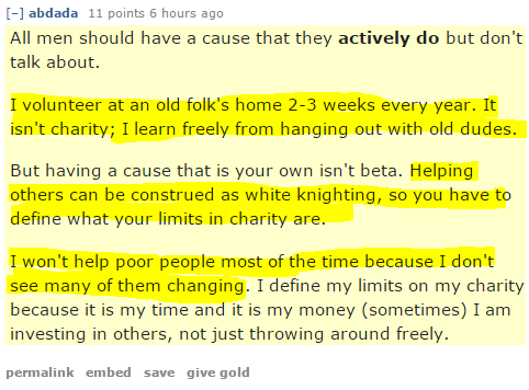 Red Pill dudes agree: Volunteering can totally be alpha, just as long as you don't help poor people. Or kittens.