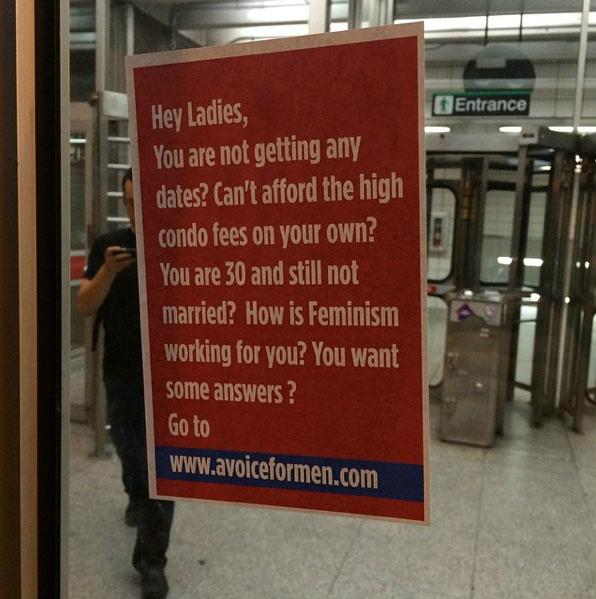 Hey Ladies! Is this pathetic poster A Voice for Men's response to threats against Toronto feminists? [UPDATED]