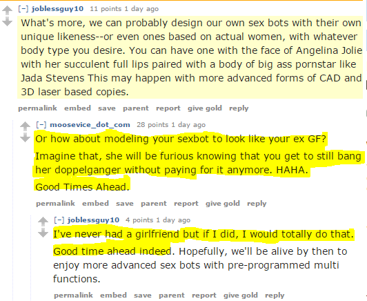 Obsession 2.0: MGTOW suggests making sexbots that look like ex-girlfriends