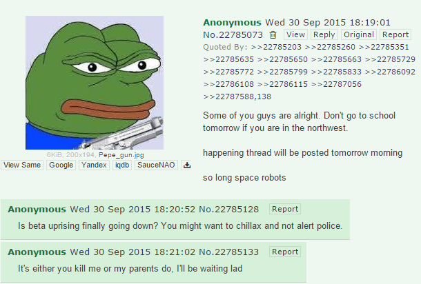 Umpqua Community College shooter apparently announced his plans on 4chan yesterday
