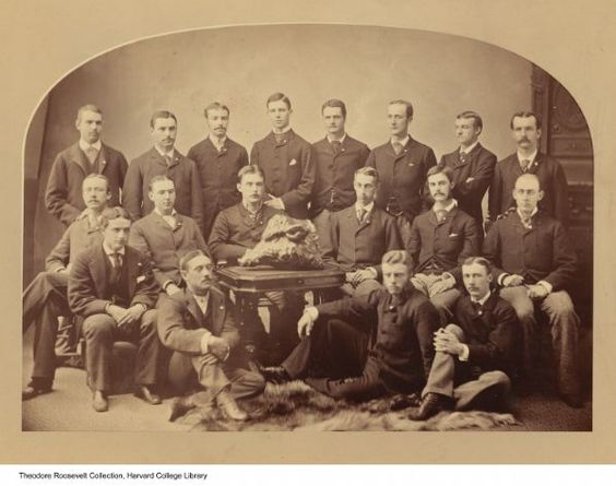 Teddy Roosevelt (on floor) and other members of the Porcellian Club in 1880, not raping anyone