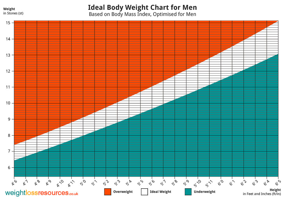 Ideal weight Chart for Men - Weight Loss Resources