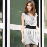 Elastic-Waist Hanky-Hem Dress