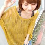 Dolman-Sleeve Sheer Knit Top