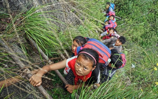 Students Climb 2,600 Foot Cliff To Attend School