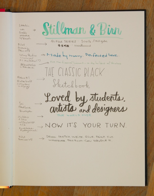 Stillman & Birn Sketchbook writing sample
