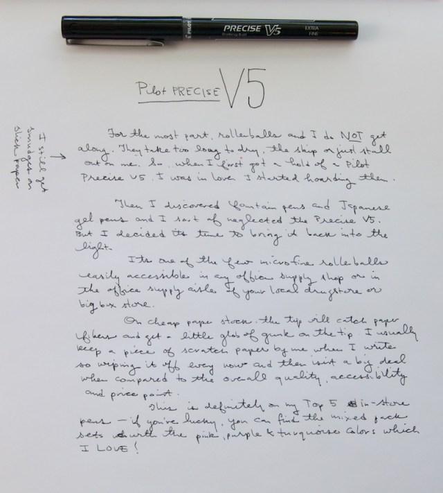 Pilot Precise V5 writing sample