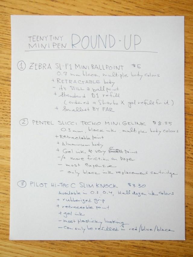 Zebra Mini Ballpoint Pentel Slicci Mini and Pilot Hi-Tec C Slim Knock writing samples