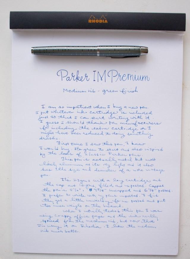 Parker IM Premium Fountain Pen Medium Writing Sample