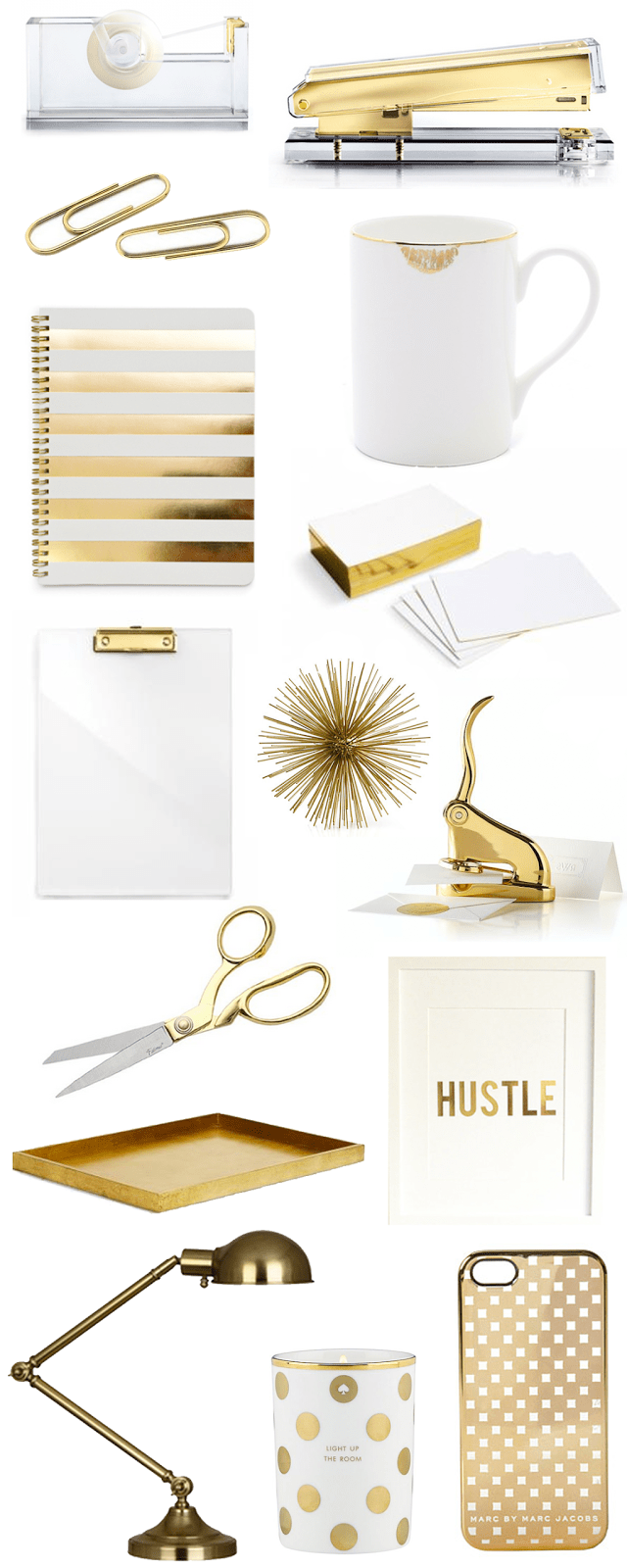 Bright & Beautiful Blog's gold office accessories