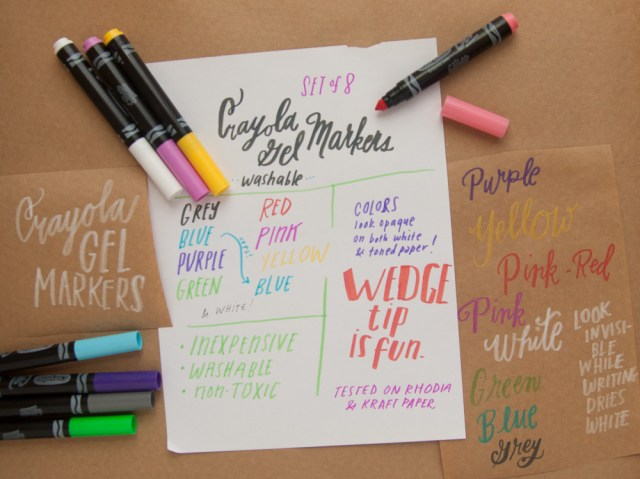 Crayola Gel Markers writing sample