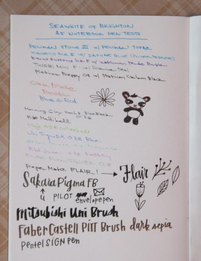 Seawhite of Brighton A5 Sketchbook writing sample