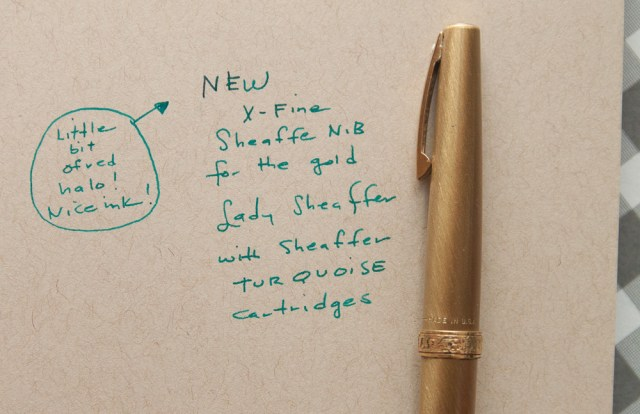 lady sheaffer gold fine nib writing sample