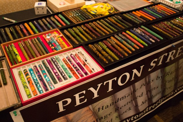 A view of the Peyton Street Pens table