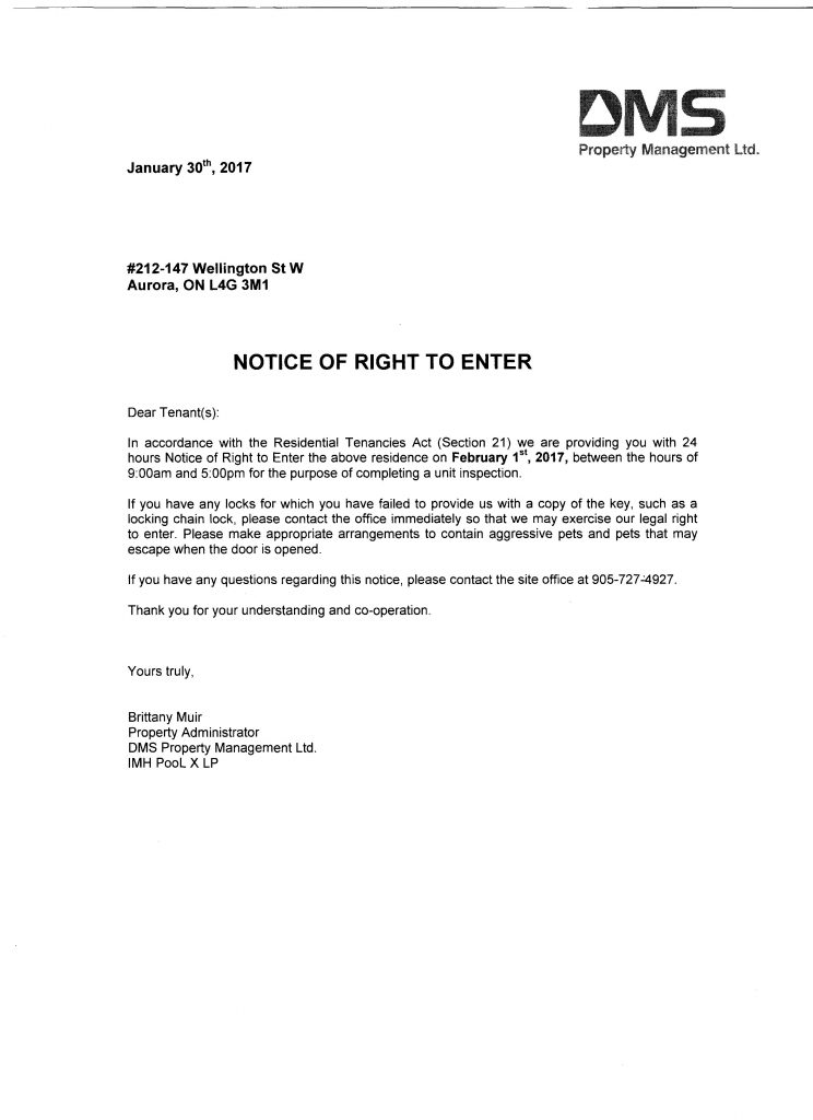 notice letter to tenant