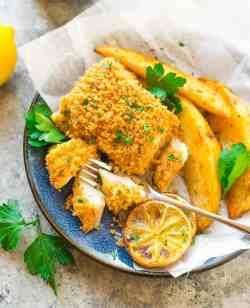 Absorbing Baked Fish Healthy Oven Fried Fish Queso Chips On A Blue Dinner Garnished Withlemon Chips Recipe Well Plated By Erin Healthy Alternative To Chips Sandwich Healthy Alternative To Chips