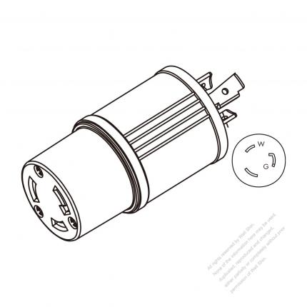 Adapter Plug, NEMA L5-20P Twist Locking to L5-30R, 2 P, 3 Wire