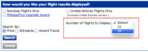 Always show 50 search results on United's site
