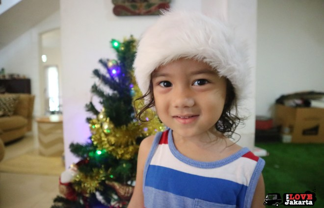 Infront of or Christmas tree at home. Finally Samudra is taller than it!