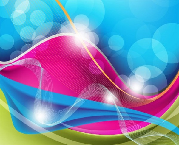 Blue Pink Waves Abstract Vector Background - WeLoveSoLo