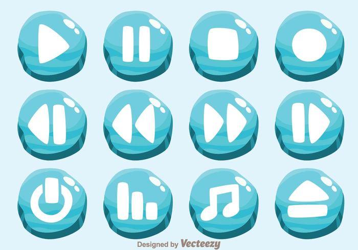 Ice Media Player Button Vectors - WeLoveSoLo
