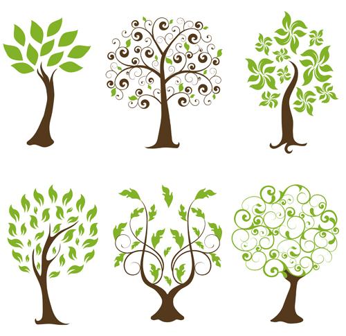 Abstract tree design vector set 02 - WeLoveSoLo