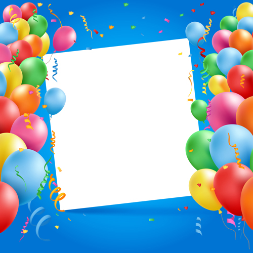 Colored balloons with birthday background graphics vector 06 - birthday backround