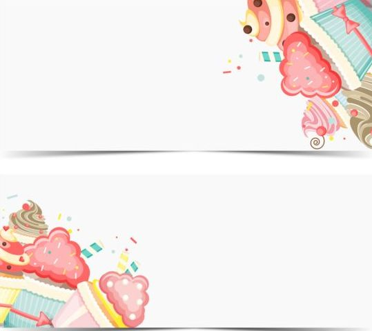 Cupcake with happy birthday banner vector 01 - WeLoveSoLo