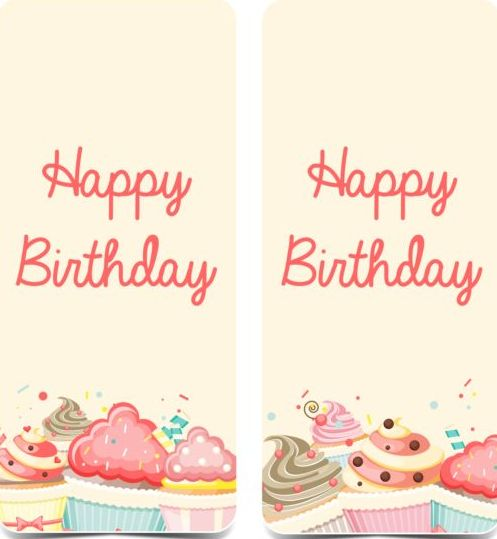 Birthday vertical banner with cupcake vector - WeLoveSoLo