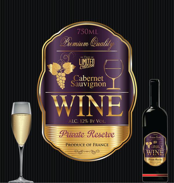 Luxury golden wine label design vector 05 - WeLoveSoLo