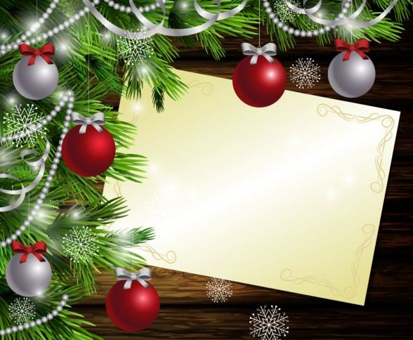 Merry christmas greeting card with wood background vector 16