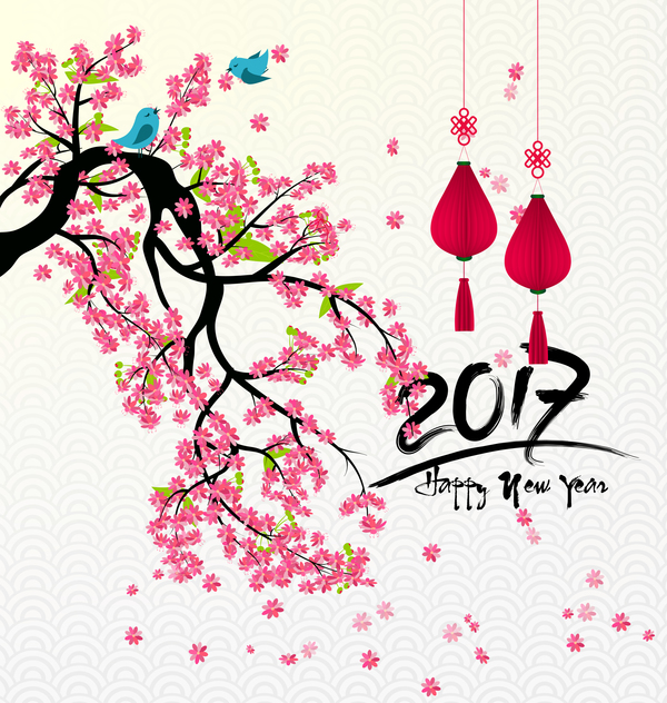2017 chinese new year background with flowers vector 06 - WeLoveSoLo