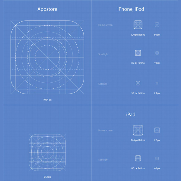 Full iOS 7 App Icons Template Set Ai/PSD - WeLoveSoLo - iphone app icon template