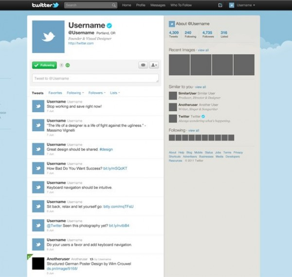 Clean Twitter GUI Template PSD - WeLoveSoLo - twitter template