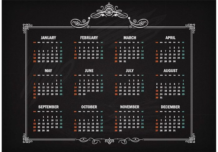 Free Vector Retro Calendar 2015 On Blackboard 149090 - WeLoveSoLo