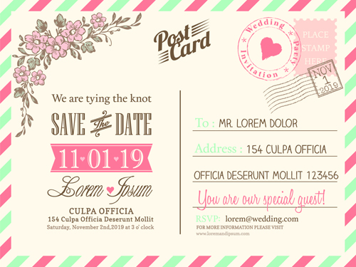 Wedding invitations postcard design graphic vector 05 - WeLoveSoLo